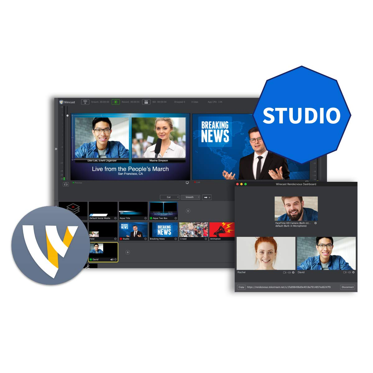 Telestream Wirecast Studio I Live Video Streaming Software I Windows - (Electronic Delivery) by Telestream