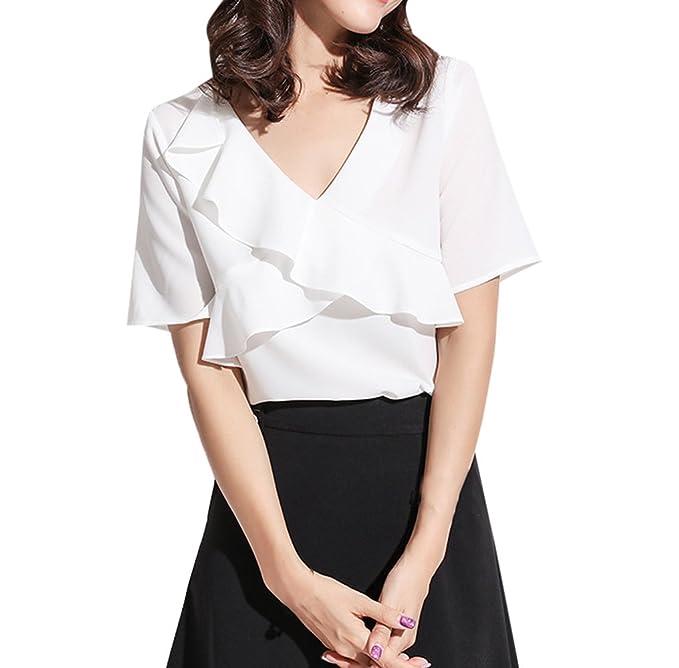 Verano Mujeres Tops Moda Cuello V Manga Corta Camisetas Blusa Casual Colores Lisos Lado de la