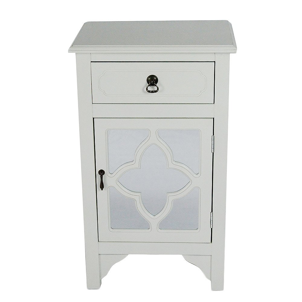Heather Ann Creations Single Drawer Distressed Decorative Accent Storage Cabinet with Clover Glass Mirror Window Inserts, 30'' x 18'', Antique White by Heather Ann Creations (Image #2)