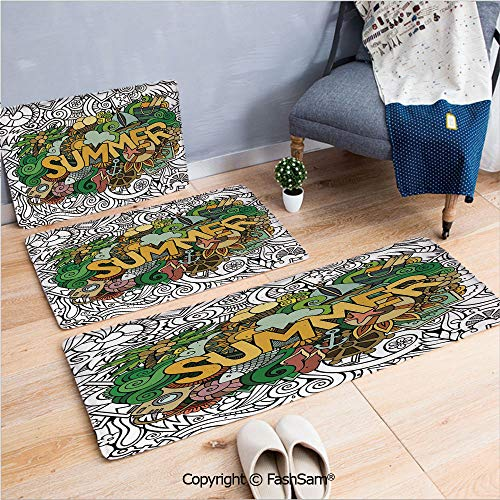 3 Piece Non Slip Flannel Door Mat Summer Typography Over Tropical Sun Objects Fishes Anchor Marine Sea Boat Graphic Indoor Carpet for Bath Kitchen(W15.7xL23.6 by W19.6xL31.5 by W15.7xL39.4)