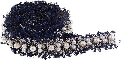 Spitze mit Perlen Dekoband Baoblaze 1 Yard Perlenband Wei/ß Stoffb/änder DIY N/ähzubeh/ör Perlen Borte Spitzenband Zierband