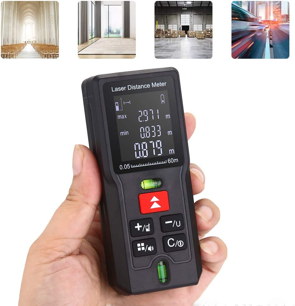 Laser Measure Distance Meter Device 40m//131ft Professional Laser Digital Measuring Tool with 2 Bubble Levels LCD Display