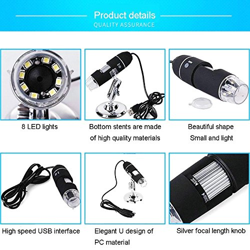 4+4 LEDs Endoscope Equipment Camera kit Digital Zoom Microscope Electronic Magnifier with Adjustable Stand Suit for Science Leaning, Electric Repair Work, Technician Tools, Jewelry Inspection etc. by iGrove (Image #5)