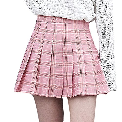 Women Sexy Cute High Waist Tartan Pleated Active Cheerleading Short Mini Skirts (Pink,X-Small) -