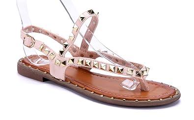 Schuhtempel24 Damen Schuhe Zehentrenner Sandalen Sandaletten rosa flach  Nieten 53e71e45e4