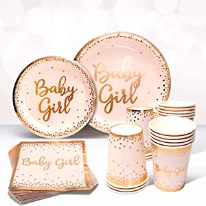 Rose Gold Theme Party Tableware Plates Boy Girl Baby  Birthday Kids Supply