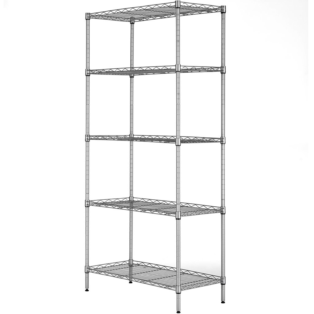 LANGRIA 5 Tier Storage Shelf Wire Shelving Unit Free Standing Rack Organization with Adjustable Leveling Feet, Silver Grey(60X35X150cm)