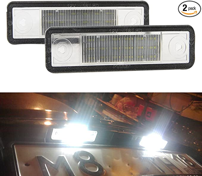 2Pc LED Number License Plate Light Lamps Replacement For V-auxhall//Ope-l Astra K J H Corsa D E C Meriva A B Zafira B Insignia Vectra C Adam Tigra Twin Top