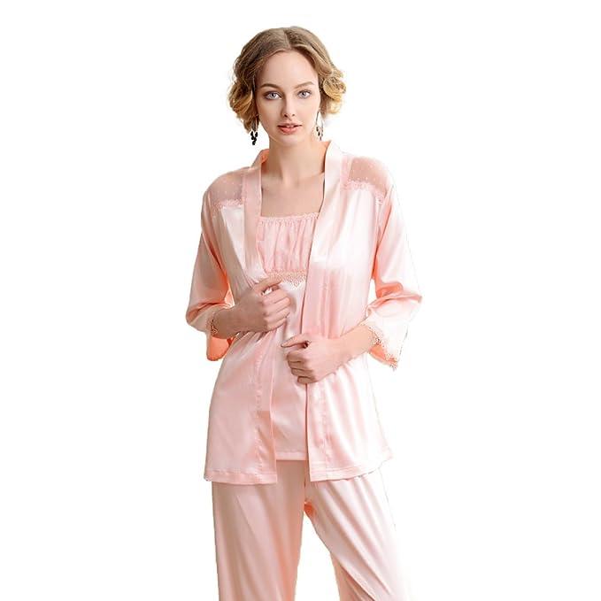 Pijamas Sexy Para Mujer Pijamas De Cuello De Seda De Tres Piezas Juego De Albornoz De