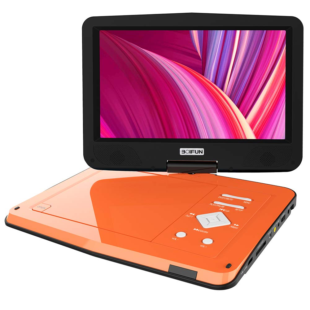 BOIFUN 12.5インチポータブルDVDプレーヤー 10.5インチスイベル高輝度スクリーン 5時間充電式バッテリー SDカード&USB直接再生 再開機能 地域フリー  オレンジ B07J1K81G3