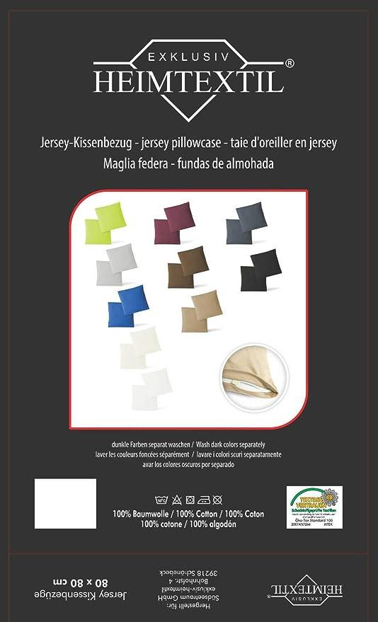 Funda de cojín, juego de 2 unidades, con cremalleras, 5 tamaños, de alta calidad, 100 % algodón, naturaleza, 80 x 80 cm
