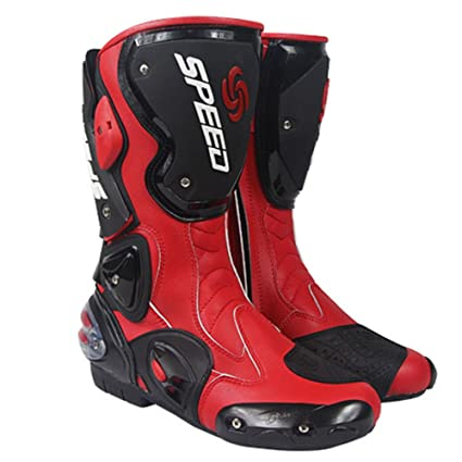 Amazon Com New Men S Motorcycle Racing Boots Red Us 9 Eu 42 Uk 8