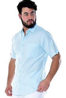 S ~ 2XL Mens Bohio White Linen Pin-Tuck Casual Short Sleeve Shirt MLS983