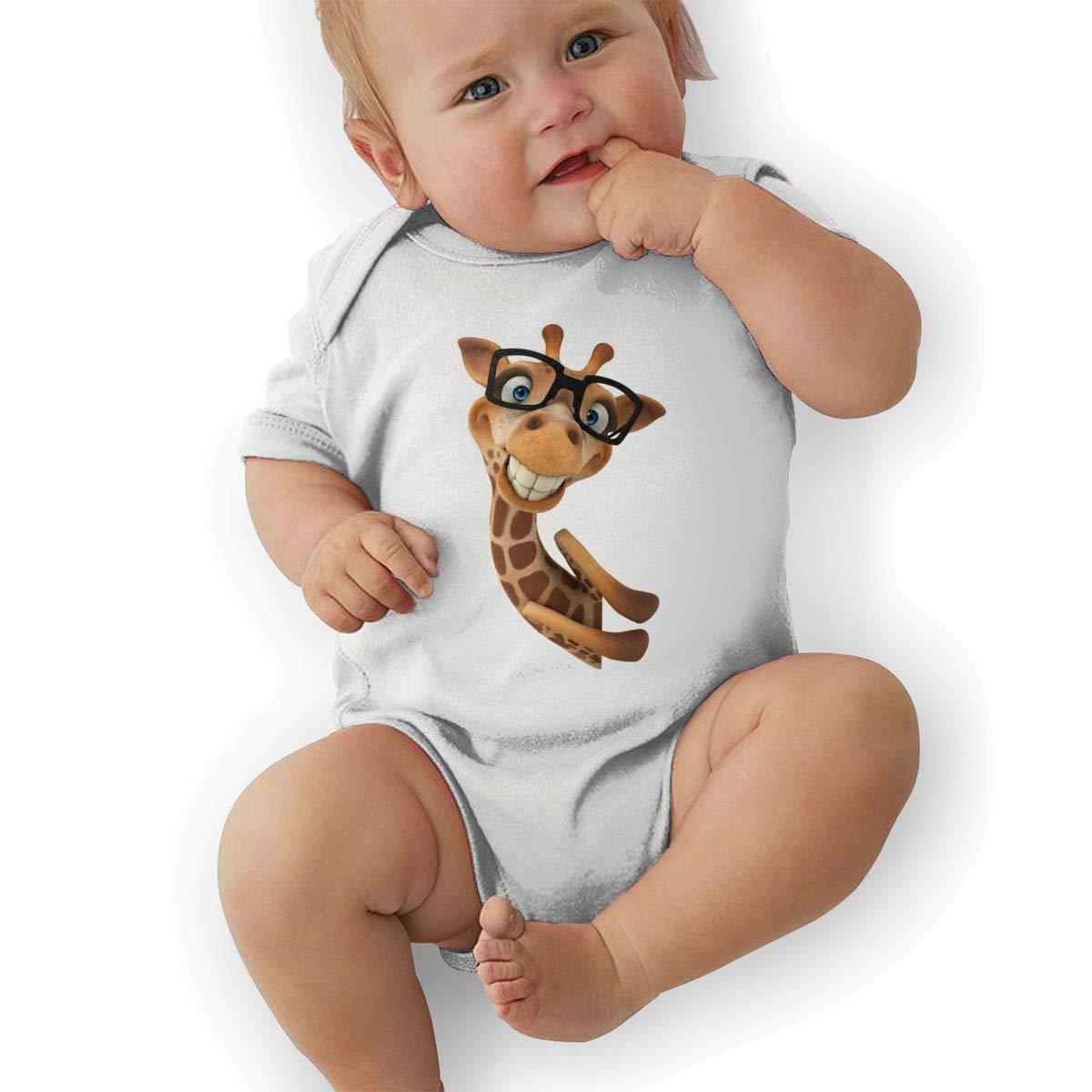 Toddler Baby Boys Bodysuit Short-Sleeve Onesie Giraffe Cute Photo Print Rompers Summer Pajamas