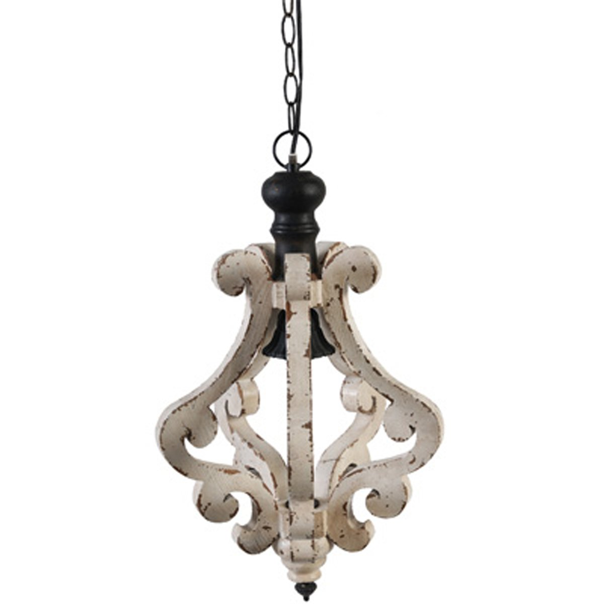 A&B Home Harper 1-Light Wood & Metal Chandelier, 12.5'' x 12.5'' x 21''