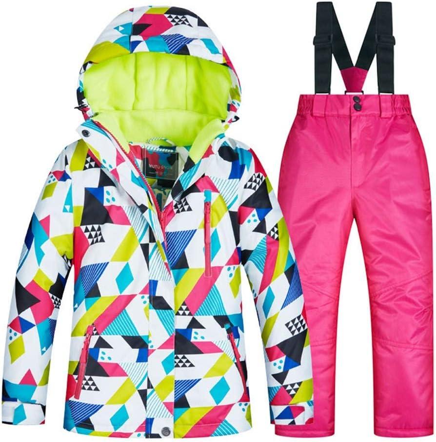 スキーウェア 冬の子供用スキースーツは厚くて暖かいですそして防風です 耐性ジャケット (色 : C1+rose 赤 pants, サイズ : 8 yards) C1+rose 赤 pants 8 yards
