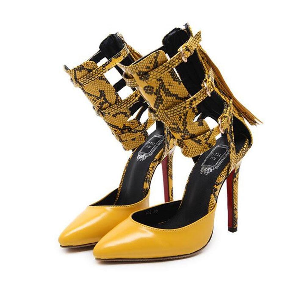 YWNC Serpentine Mode Damenschuhe Sandalen Guuml;rtelschnalle Openwork Zuruuml;ck Zip Explosionen Spitz Fein Hoch Hilfe Nauml;hte Multicolor  40|yellow