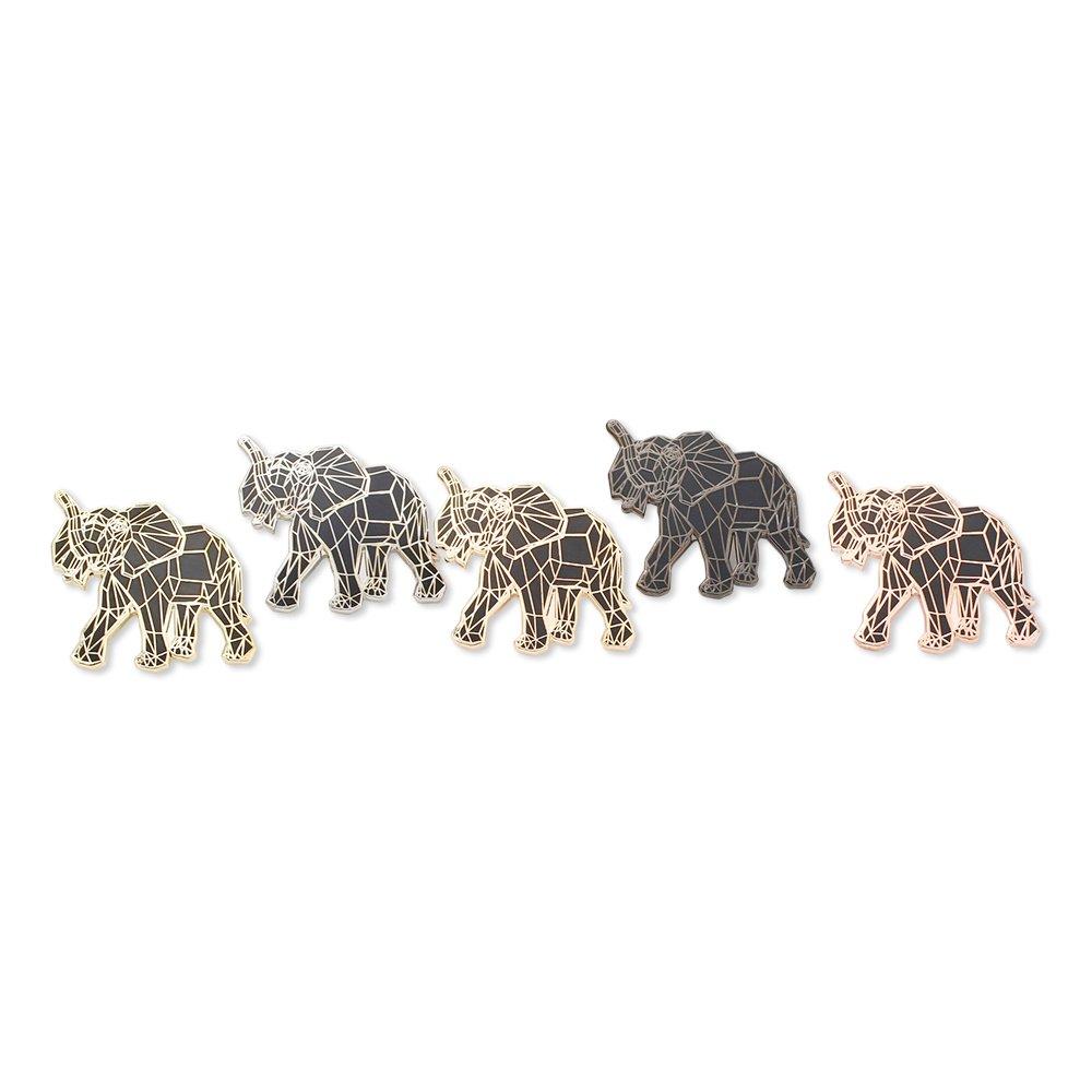 WIZARDPINS Origami Elephant Black Geometric Pattern Value Lapel Pin Pack– 5 Pins