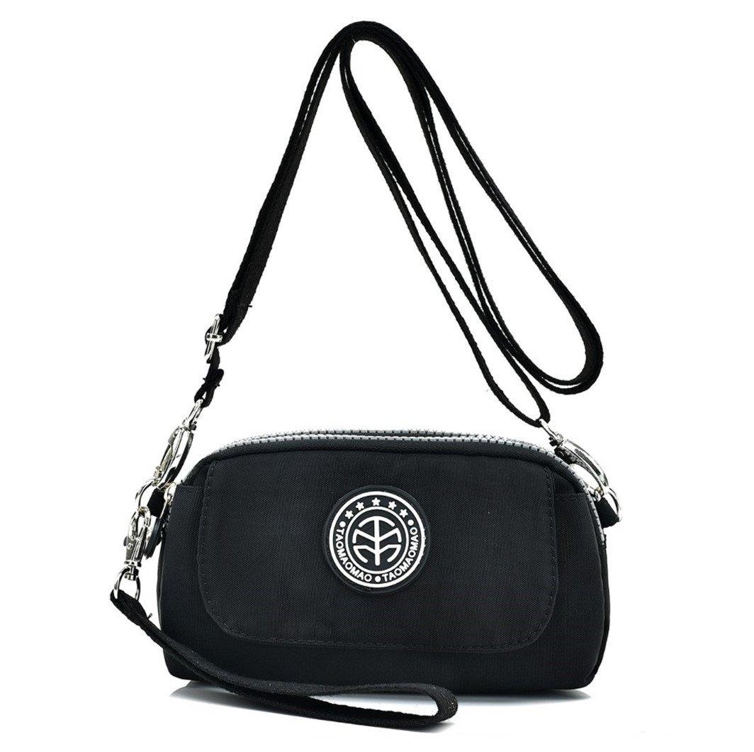 Women's Casual Water-resistant Nylon Wristlet Purse 3 Layers Zipper Clutch Wallet Handbag Small Cell Phone Crossbody Shoulder Bag (Black)