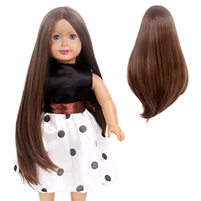 STfantasy Doll Wig for 18 Inches AG OG Doll Girls Gift Brown Long Straight Synthetic Hair: Beauty