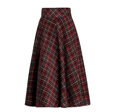 Ashanlan® Falda de Lana para Mujer, Falda Larga con Pliegues Rojo ...