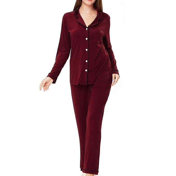 6099d87d48 ENIDMIL Schlafanzug Damen - Pyjama Damen Lang Sleepwear Baumwolle Langarm  Button-Down - Zweiteiliger Nachtwäsche