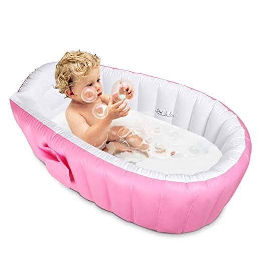 Inflatable Baby Bathtub,Topist Portable Mini Air Swimming Pool Kid Infant Toddler Thick Foldable Shower Basin with Soft Cushion Central Seat (Pink) 3-5 Days Arrive Guarantee