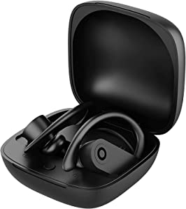 Bluetooth 5.0 Wireless Earbuds Headsets Bluetooth Headphones 【24Hrs Charging Case】 3D Stereo IPX7 Waterproof Pop-ups Auto Pairing Fast Charging for Earphone Samsung Apple Powerbeats Pro