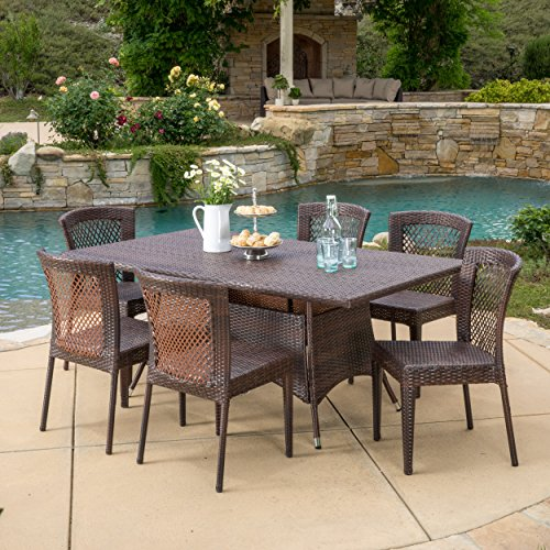 Great Deal Furniture Perry Outdoor 7pc Multibrown Wicker Dining Set Review