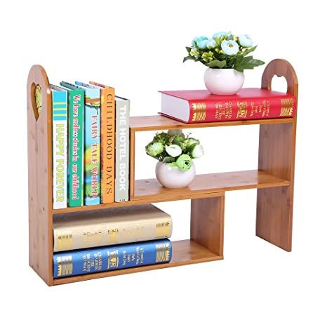 Natural Bamboo Adjustable Desk Organizer,Plant Stand,Expandable Kitchen  Organizer Shelves Spice Rack Makeup