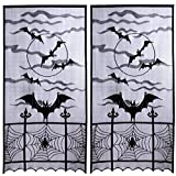 2Pcs Halloween Lace Spider Web Bat Curtains - Perfect for Halloween, Scary Movie Nights, Festive Party Supplies Home Decoration (40'' x 84'')