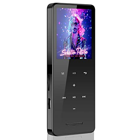 16GB Mp3 Player with Bluetooth,EVIDA Portable Lossless Music Player for  Running Walking with Speaker Long Battery Life Metal Shell Touch Button