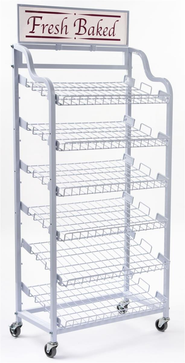 Displays2go Baker's Rack with 6 Adjustable Shelves Wire Display Rack with Wheels and 2 Sign Holders