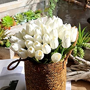 "Mandy's 20pcs White 14"" Silk Artificial Tulips Flowers for Party Home Decoration 4"
