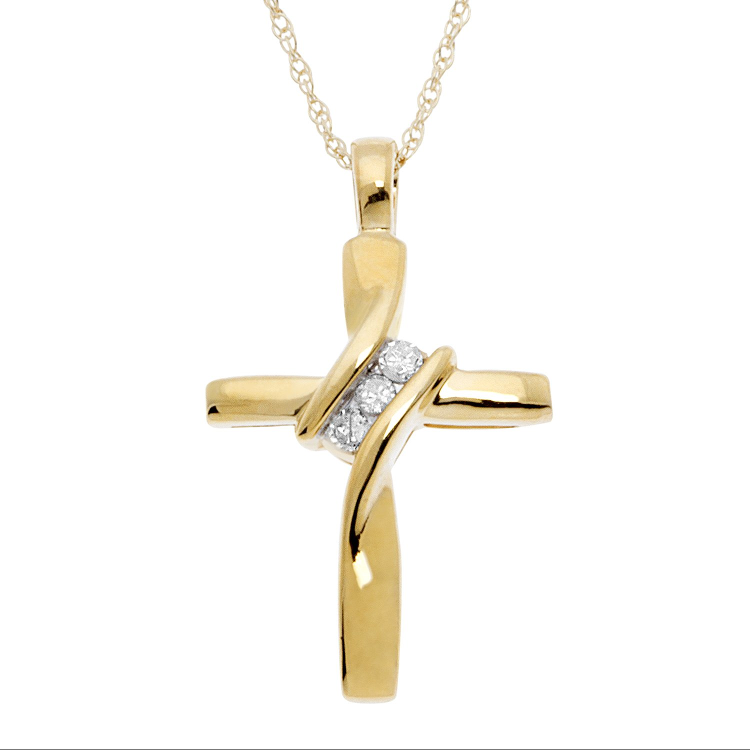 JewelExclusive 10K Yellow Gold Natural Round-Cut Diamond Accent (I-J Color, I2-I3 Clarity) 3 Stone Cross Pendant 18''