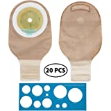 LotFancy 20 Drainable Pouches - Ostomy Bags with Closure for Colostomy Ileostomy Stoma Care, Cut-to-Fit, One-Piece System, FDA Approved