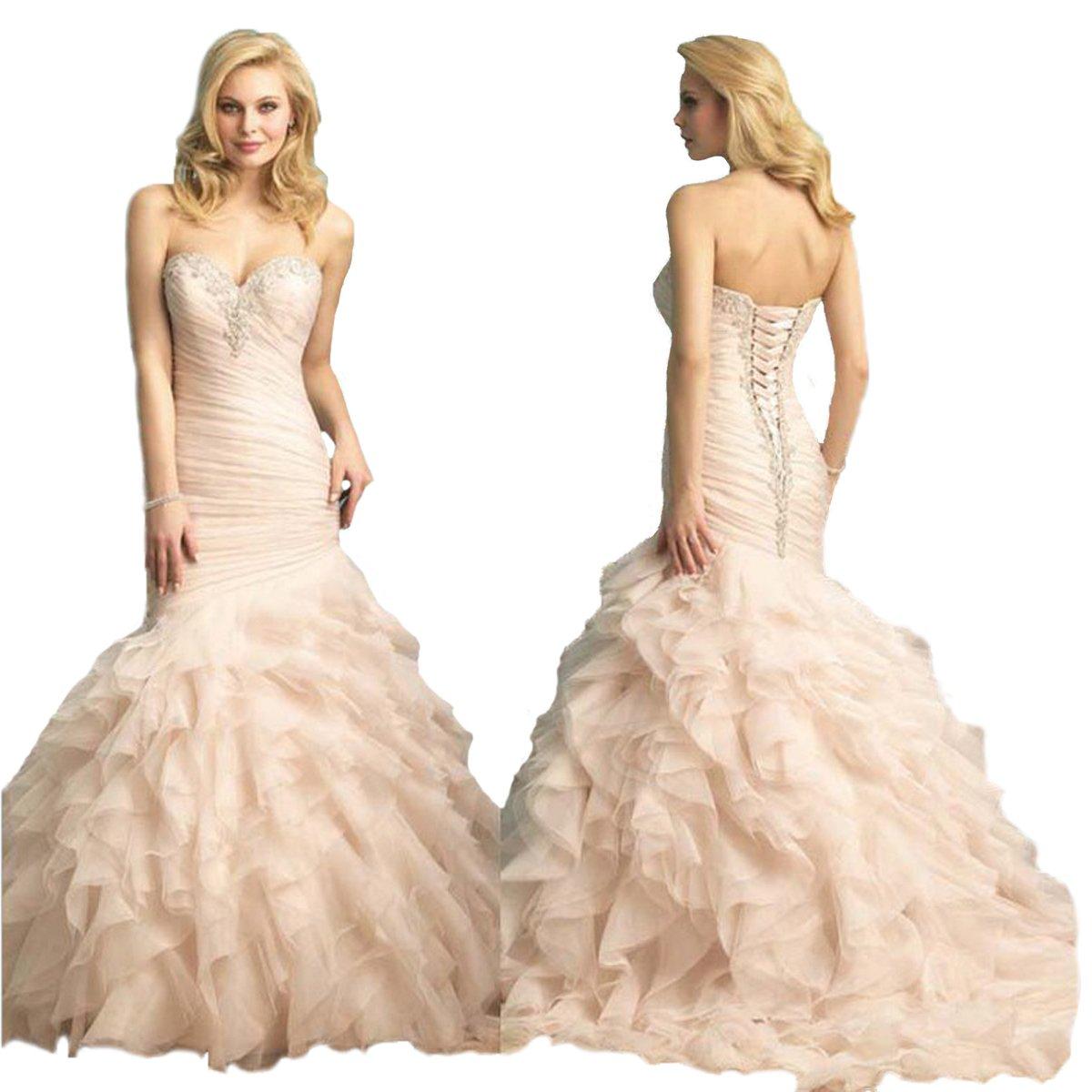 Angel Formal Dresses Women's Sweetheart Applique Beaded Mermaid Ruffles Tulle Wedding Dresses Gown(18,Ivory) by Angel Formal Dresses (Image #1)