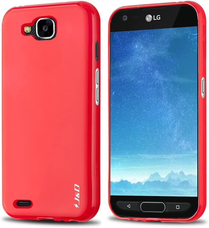 J&D Case Compatible for LG X Venture/LG X Calibur/LG V9 Case, [Drop Protection] [Slim Cushion] Shock Resistant Protective TPU Slim Case for LG X Venture, LG X Calibur, LG V9 Bumper Case - Red