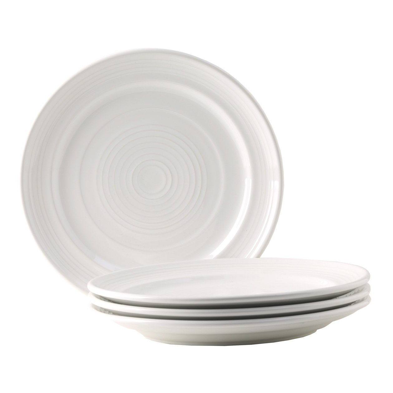 Tuxton Home Concentrix Dinner Plate (Set of 4), 10 1/2'', White; Heavy Duty; Chip Resistant; Lead and Cadmium Free; Freezer to Oven Safe up to 500F