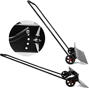 XtremepowerUS Premium Snow Shovel Adjustable Wheeled Rolling Snow Plow Pusher Suitable for Driveway Pavement Clearing