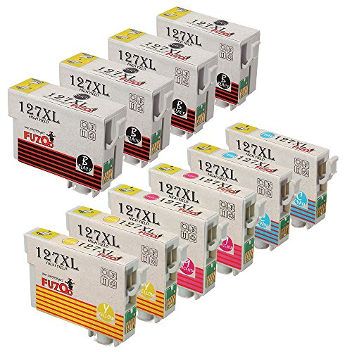 FUZOO 10-Pack Replacement Ink for Epson 127 Extra High Yield Used in Epson workforce WF-3540 WF-3520 WF-7520 WF-7510 WF-7010 WF-3530 545 645 635 633 630 845 840 60, Epson Stylus NX625 NX530