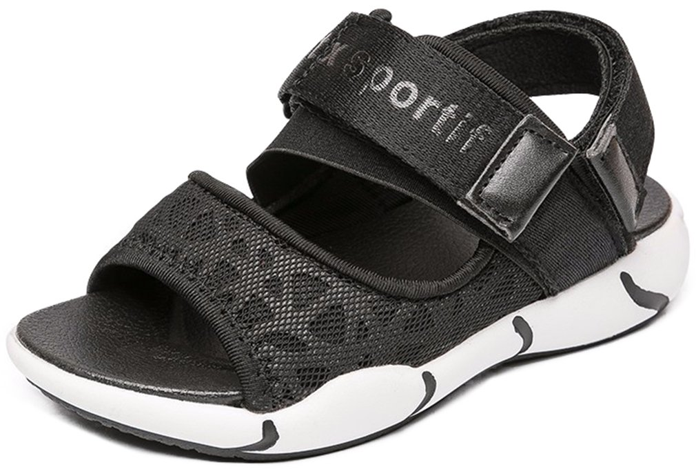VECJUNIA Boy's Girl's Outdoor Sandals Open Toe Non-Slip Beach Athletic Sandals (Black, 4 M US Big Kid)
