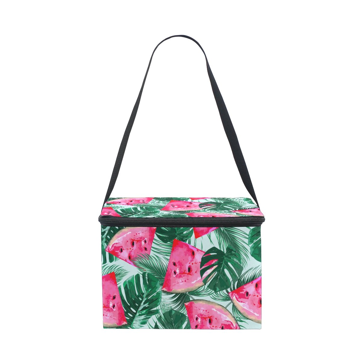 ALAZA Watermelon Palm Tree Insulated Lunch Bag Box Cooler Bag Reusable Tote Bag Outdoor Travel Picnic Bag With Shoulder Strap for Women Men Adults Kids