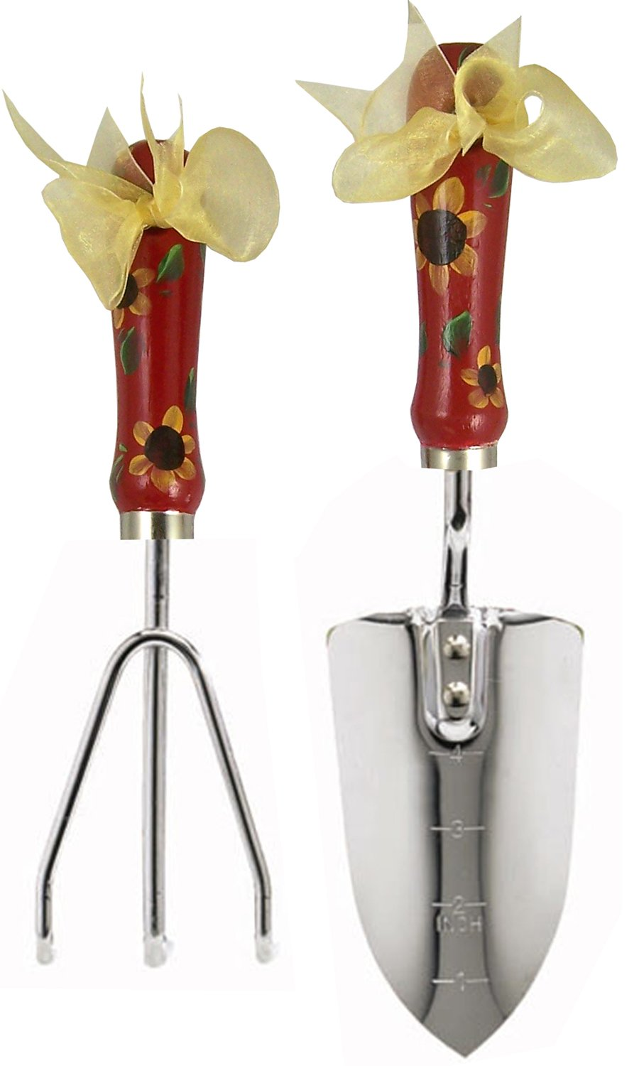 Cute Tools Stainless Steel Garden Shovel and Three Prong Rake - Landscaping Instrument, Hand Painted Wooden Handle In The USA, Durable Yard and Gardening Equipment From CuteTools! - Art For A Cause, Honduran Yellow Sunflower