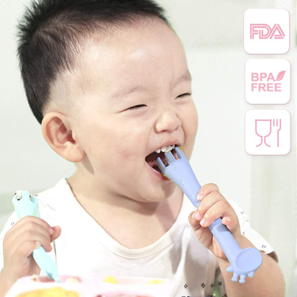 Bozoa Baby Teether//Baby Teething Chew Toys Giraffe Training Spoons for Kids Infant and Toddler Self-Feeding BPA-Free Soft Silicone 2Pcs Random Color