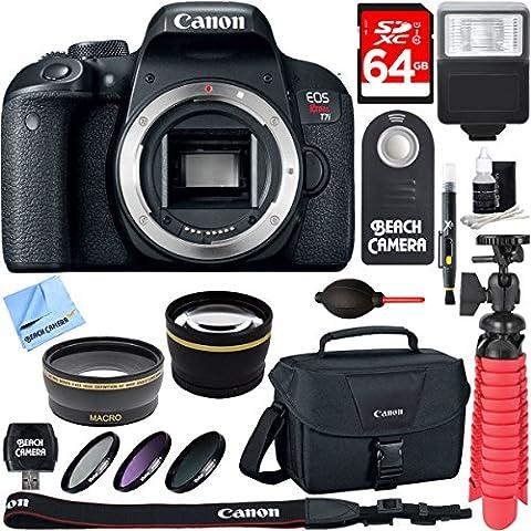 Canon EOS Rebel T7i Digital SLR Camera (Body) + 64GB Class 10 UHS-1 SDXC Memory Card + Accessory (Digital Rebel Body)