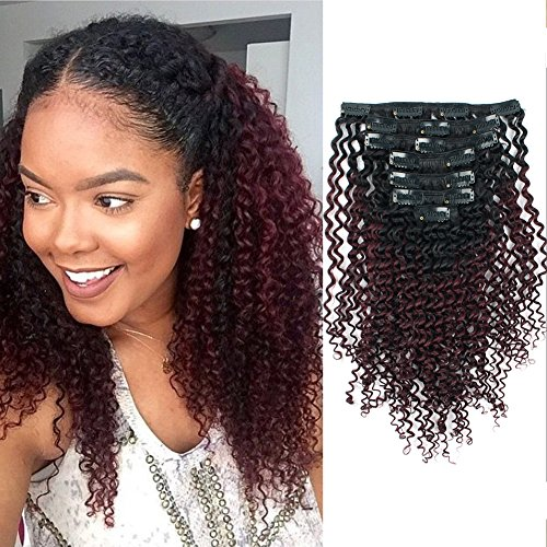 AmazingBeauty 8A Grade Curly Clip ins 3C 4A Double Weft Real Remy Human Hair for African American Black Women, Natural Black Fading into Cherry Wine Two Tone Color Ombre 99J, 16 Inch (Tone Cherry 2)