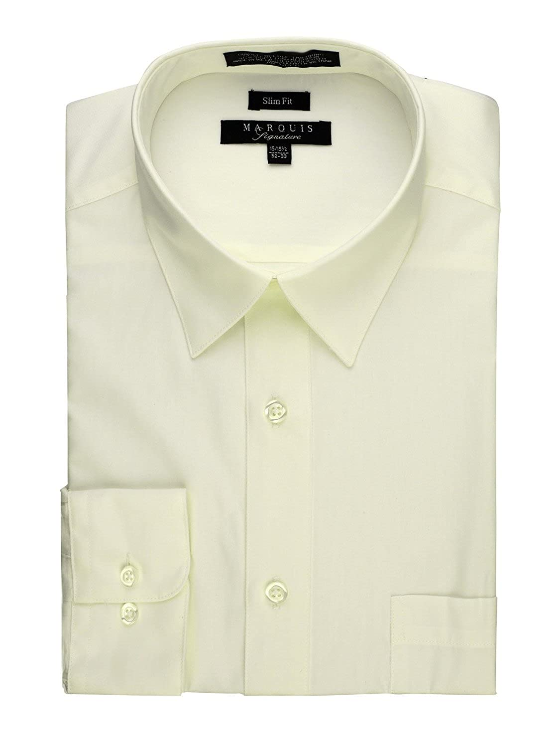 Marquis Mens Slim Fit Solid Dress Shirt Available In Many Colors