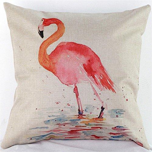[Cotton Linen Decorative Throw Pillow Case Cushion Cover Watercolor Bird Flamingo Square 18