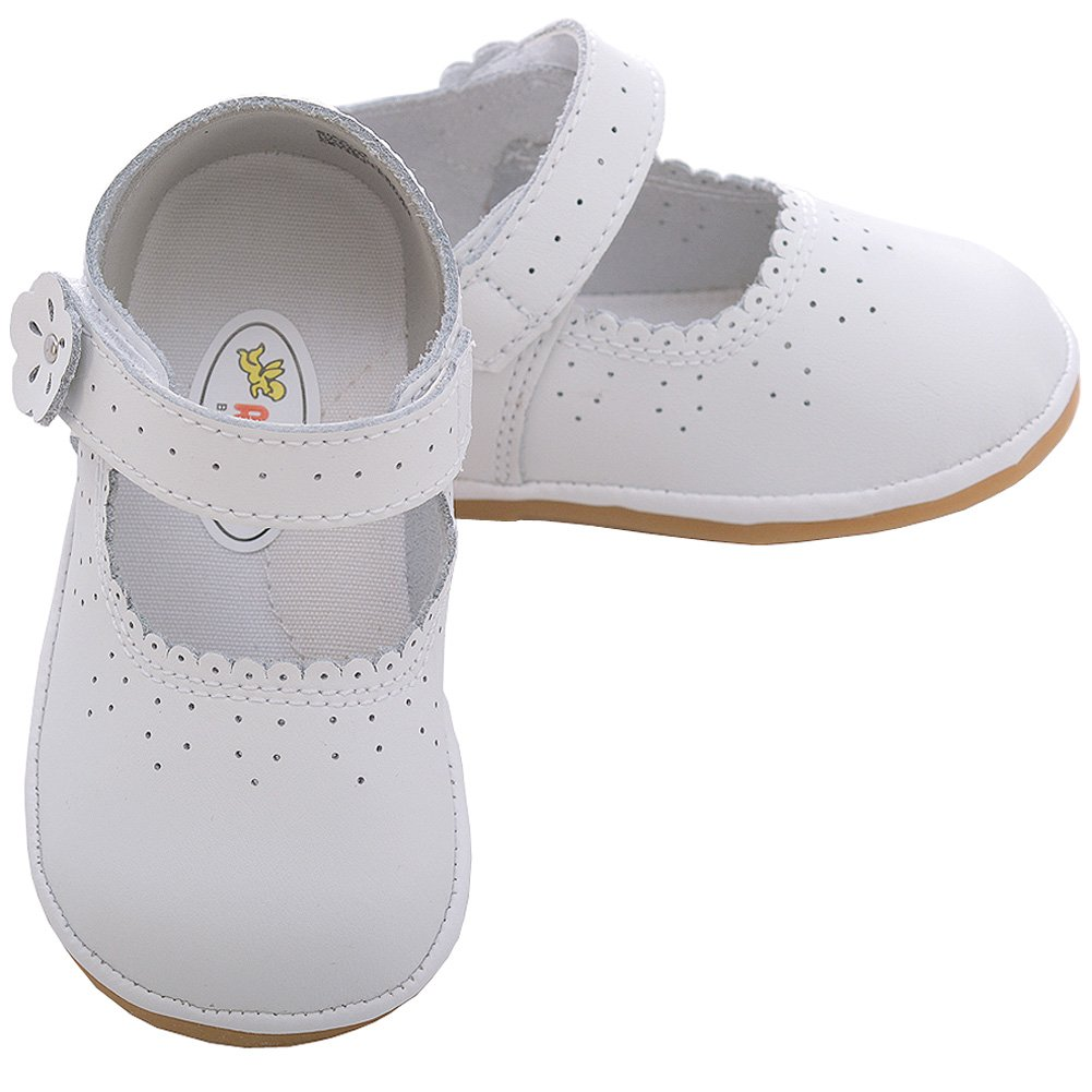 Angel Baby White Punched Flower Mary Jane Shoes Toddler Girls 5-7 IMLINK-A2020WHT